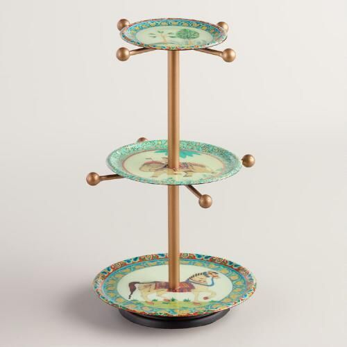 One of my favorite discoveries at WorldMarket.com: Indian Print Metal 3-Tier Jewelry Stand with Knobs
