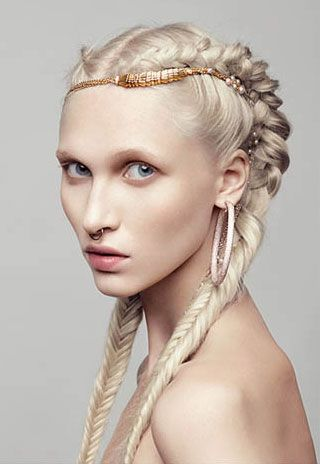 Braidssssss. Platinum hair envy. Accessory. Awesome renaissance/medieval hair. But I'd rock the color and braids themselves any day of the summer. Perfect for the beach.