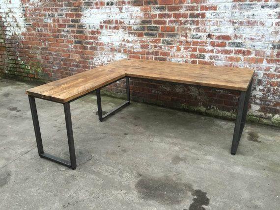 L Shaped Desk Industrial Style With Reclaimed Wood And Steel Rustic Vintage Urban Home Office Handmade Bespoke Muebles Muebles De Oficina Oficina En Casa