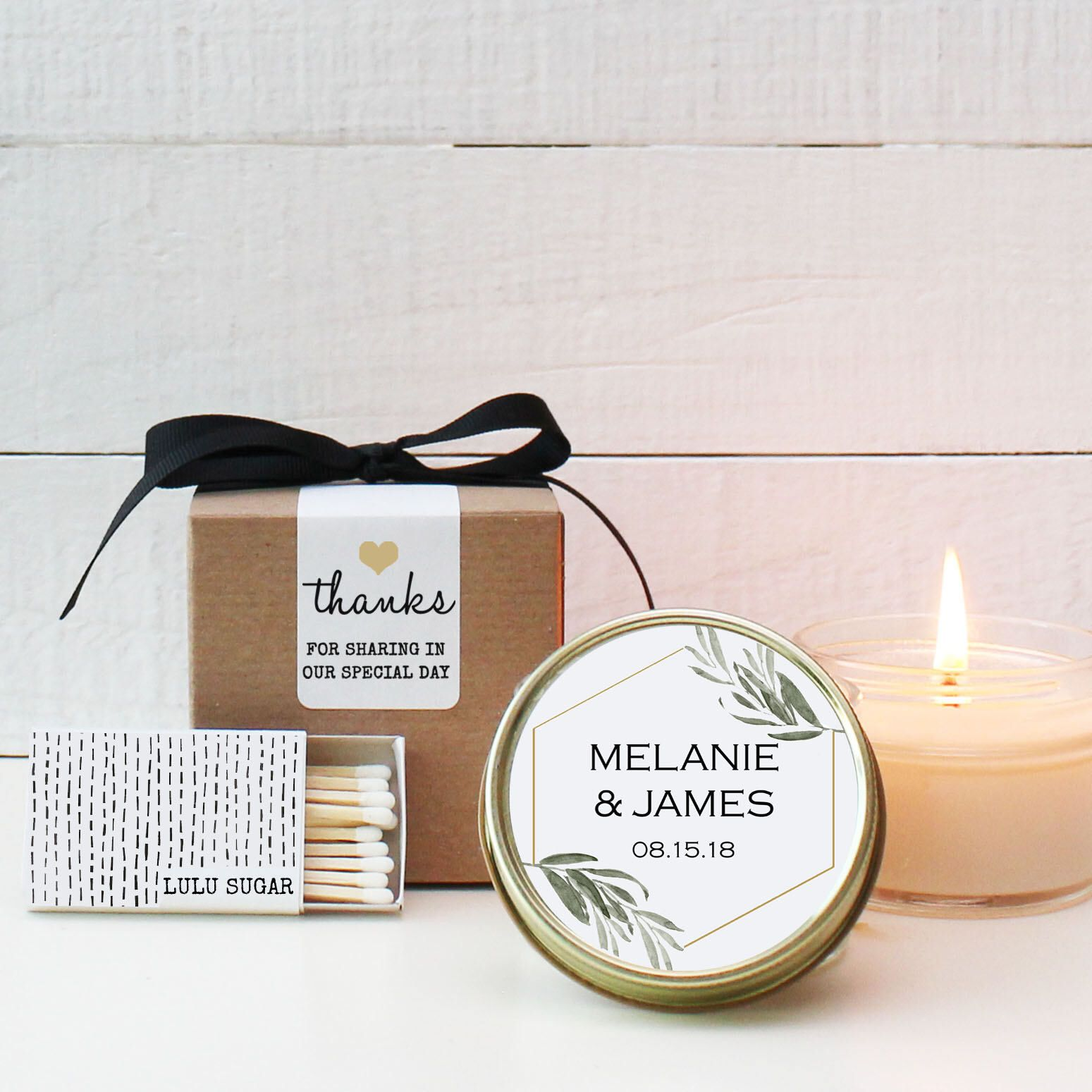 Set of 6 - 4 oz Soy Candle Wedding Favors - Minimalist Label Design ...