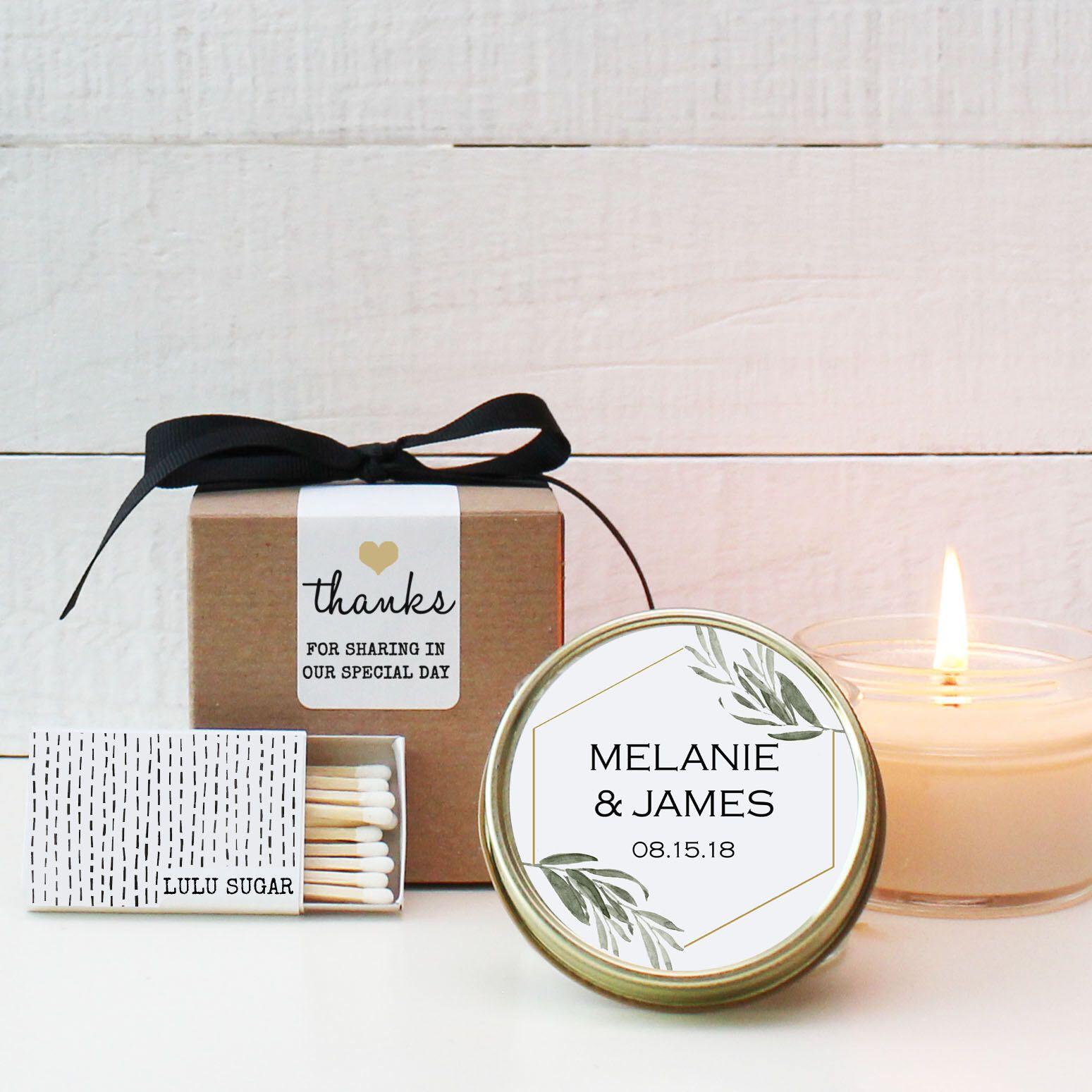 Wedding Favor Candles Minimalist Label Design Personalized Etsy Candle Wedding Favors Personalized Candle Favors Candle Favors