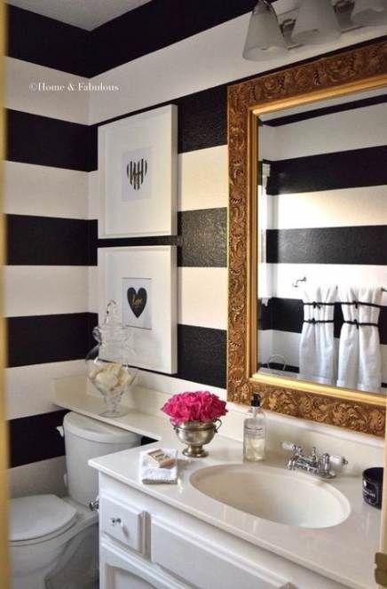 43 Super Ideas Bathroom Paint Ideas Stripes Black White #whitebathroompaint