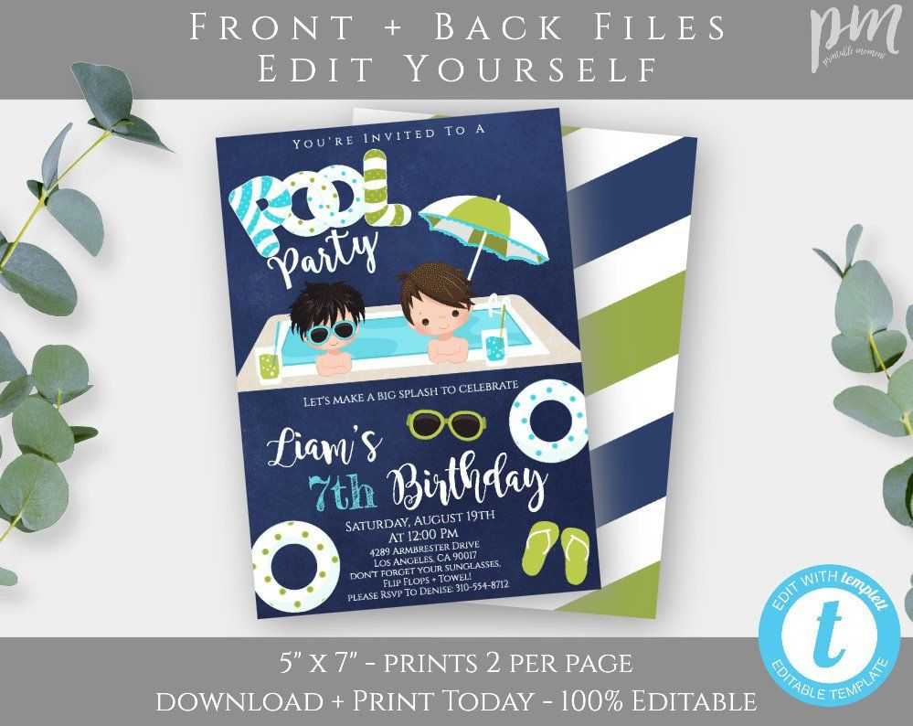pool party invitation template swimming