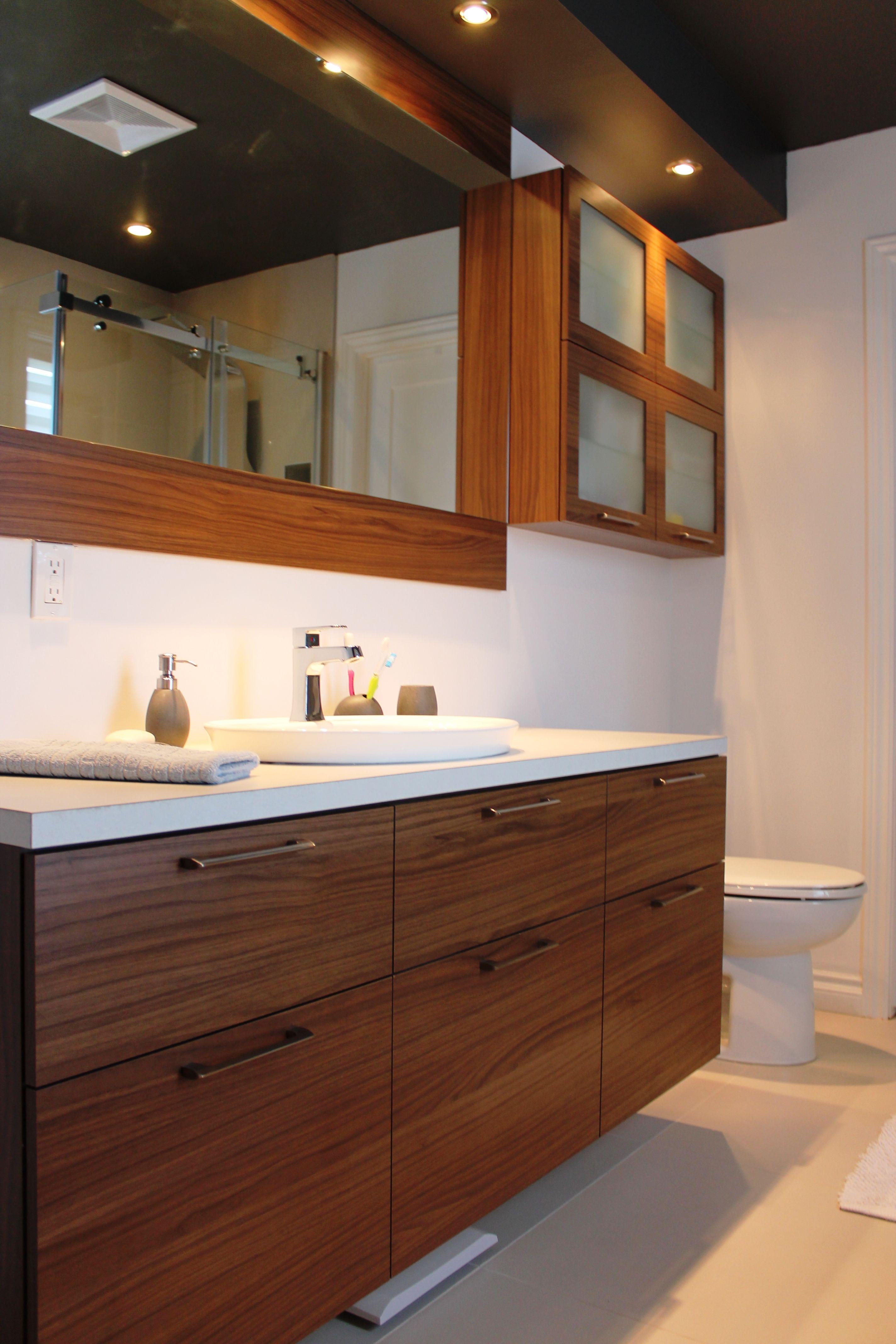 vanit sur mesure m lamine effet noyer style contemporain. Black Bedroom Furniture Sets. Home Design Ideas