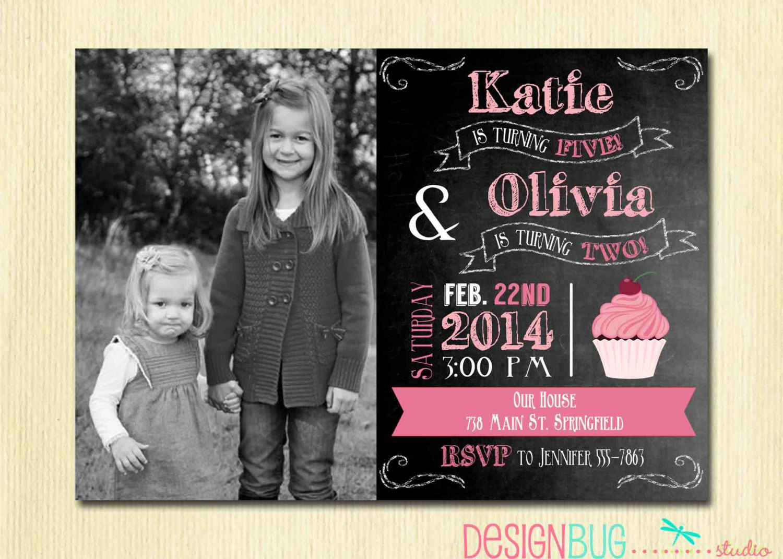 Joint Birthday Chalkboard Invitation - Twins Birthday - Sisters Dual ...