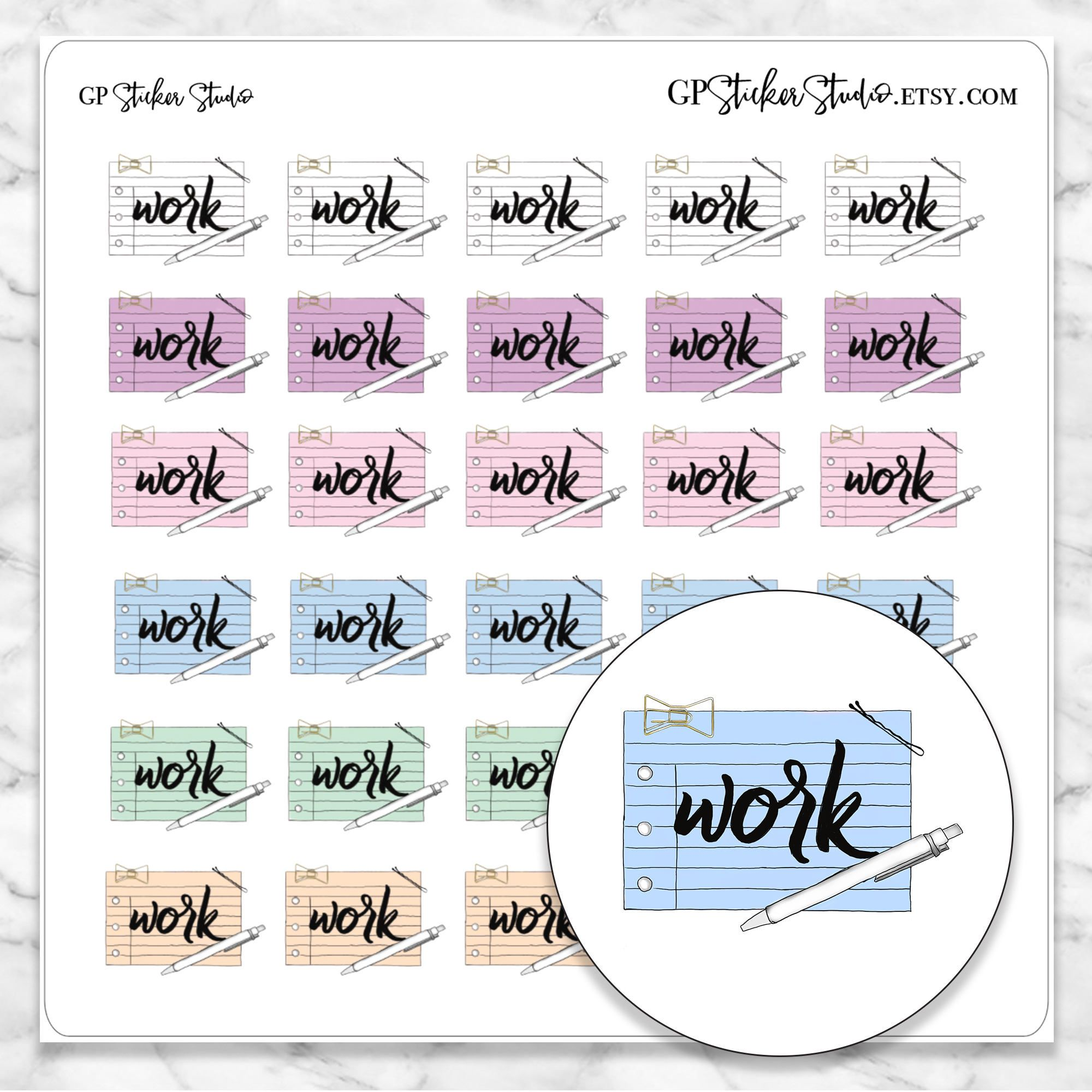 Work icon planner stickers for your erin condren happy planner