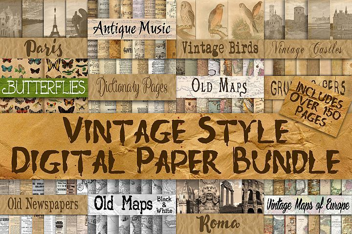 Vintage Style Digital Paper Bundle by O Design Bundles Graphics
