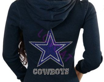 b1cf77034 Dallas Cowboys Jersey Bling Rhinestones Zip Up Thermal Hoodie Sweater