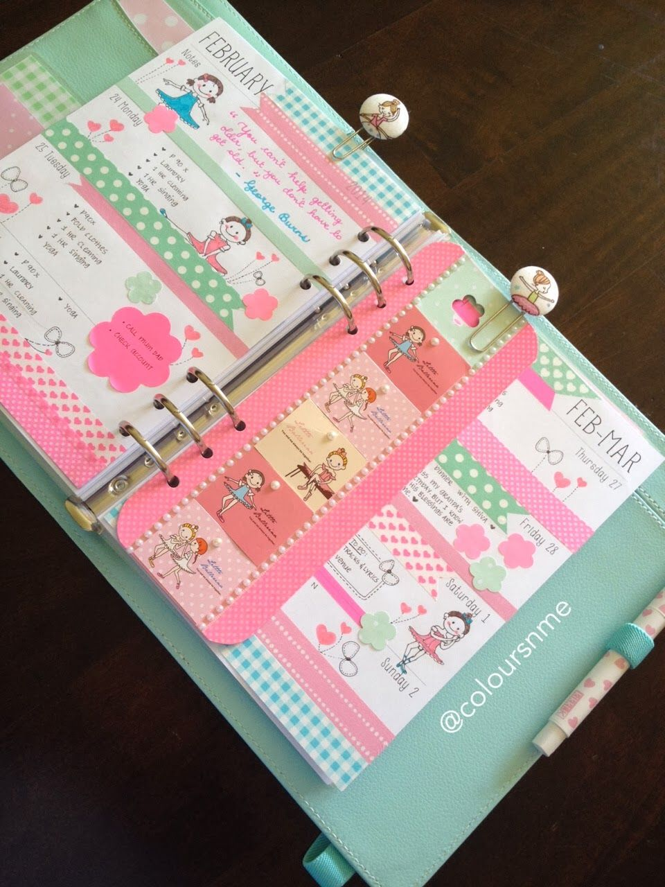 Coloursnme kikkik planner ballerina girls inspired planner