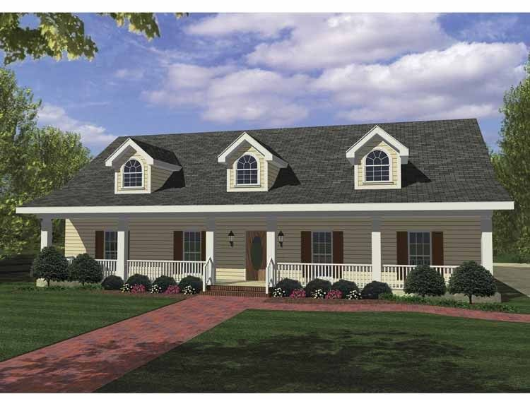 Southern Style House Plan 4 Beds 3 Baths 1856 Sq Ft Plan 44 162 Rectangle House Plans Country House Plans Ranch House Plans