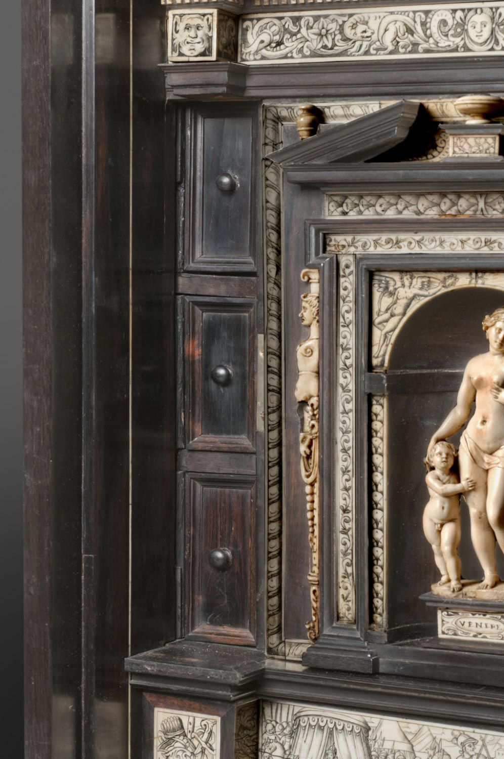 Writing Cabinet, c. 1600. Medium: Ebony with ivory inlay. Dimensions: 63.2 x 90.8 x 42.5 cm. Workshop of Iacobus Fiamengo, Flemish, recorded in Naples, Italy, between 1594 - 1602. Scenes based on engravings made by Dirk Volkertsz. -Philadelphia Museum of Art-