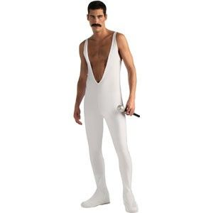 LICENSED ADULT MENS FREDDY MERCURY QUEEN WHITE JUMPSUIT FANCY DRESS COSTUME