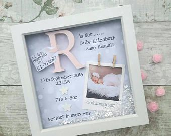 New Baby Gift Girl Christening 1st Birthday Goddaughter Nursery Decor Print Personalised