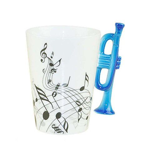 Piggy2gether  High Quality Musical Notes Trumpet Ceramic Coffee Tea Cup Mug Gift Box Package  *** You can find more details by visiting the image link.