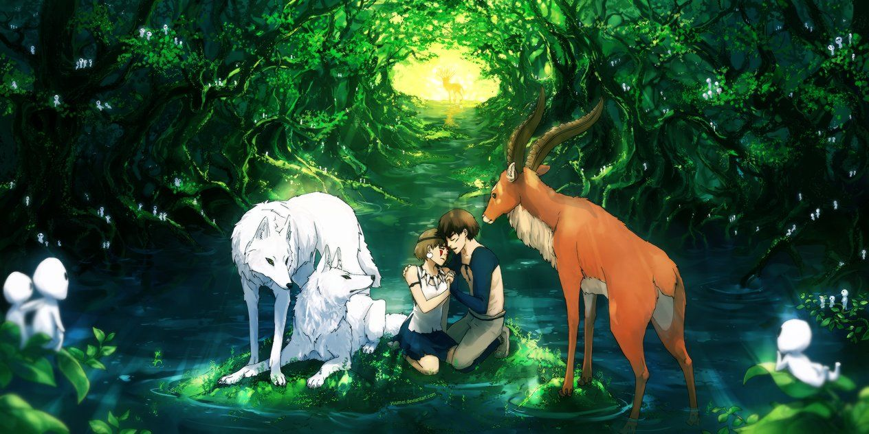 More Princess Mononoke Fan Art With San Ashitaka Yakul The Brothers And The Deer God In The Background And Of Course The L Animes Wallpapers Ghibli Fanart