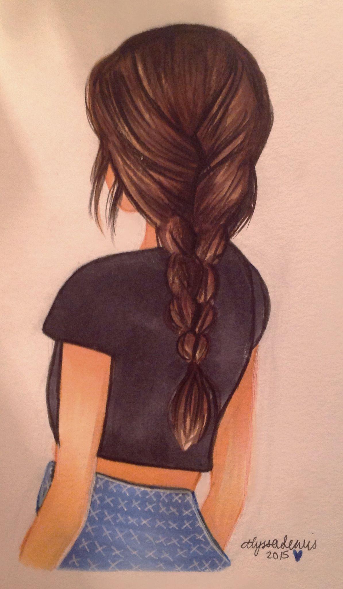 Inktober #6 - Random drawing of a girl. Drawn with Copics and Polychromos. By Alyssa Lewis (@artyalyssa)