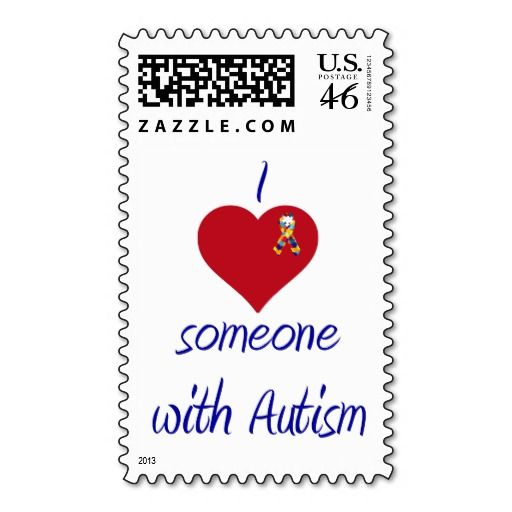 I love (heart) Someone with Autism Postage