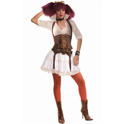The moment you put on the Steampunk Sally Costume, you'll transform yourself into a sassy and sultry neo-Victorian styled rebel, one that looks ready to raise all sorts of commotion in a world where steam-powered technology runs rampant.