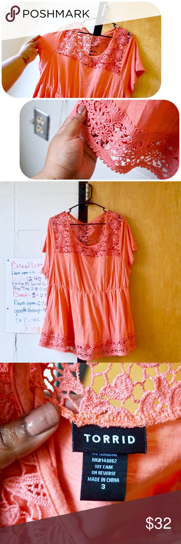 Crochet Babydoll Top - TORRID Salmon-colored empire neckline top with pretty lace crochet detailing at the collar and the hemline. Cinches in under the bust slightly for a flattering fit. Worn once, size 3X. Make an offer, I don't bite 💖 torrid Tops Blouses