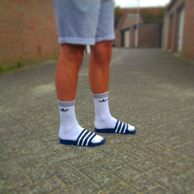 Adidas Adilette White Socks Trend Mens Fashion