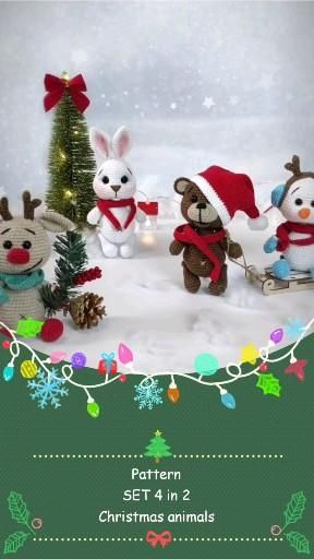 crochet PATTERNS Christmas animals SET 4 in 1, cro