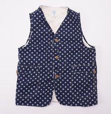 New $295 POST O'ALLS Blue Atom Calico Print Cotton Royal Traveler Vest S Small