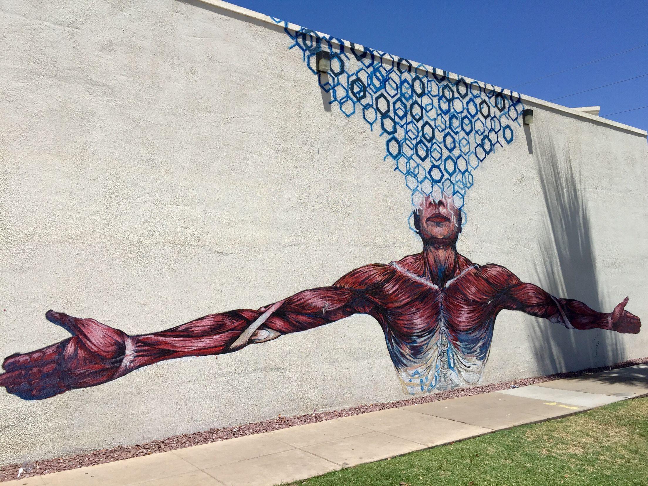 Roosevelt Row Art S District Downtown Phoenix Phoenix Az Wallart Urban Art Mural Street Art Mural By B Urban Art Street Chalk Art Street Artists
