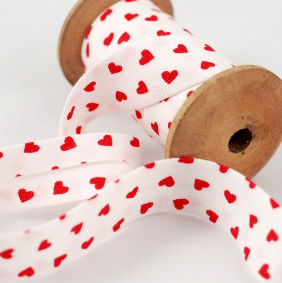 White and Red Heart motif Bias Binding  Sold by fabricsandfrills, $2.60