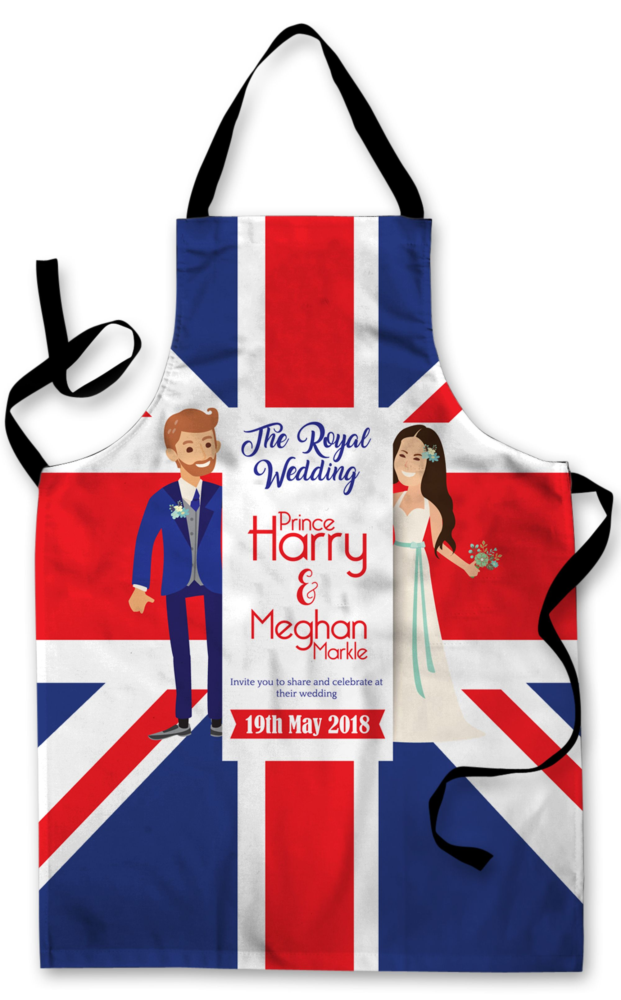 Cartoon Royal Wedding Harry Meghan Invite Design Apron Kitchen BBQ ...