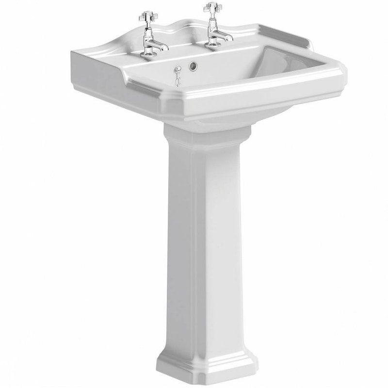 The Bath Co Winchester 2 Tap Hole Full Pedestal Basin 600mm