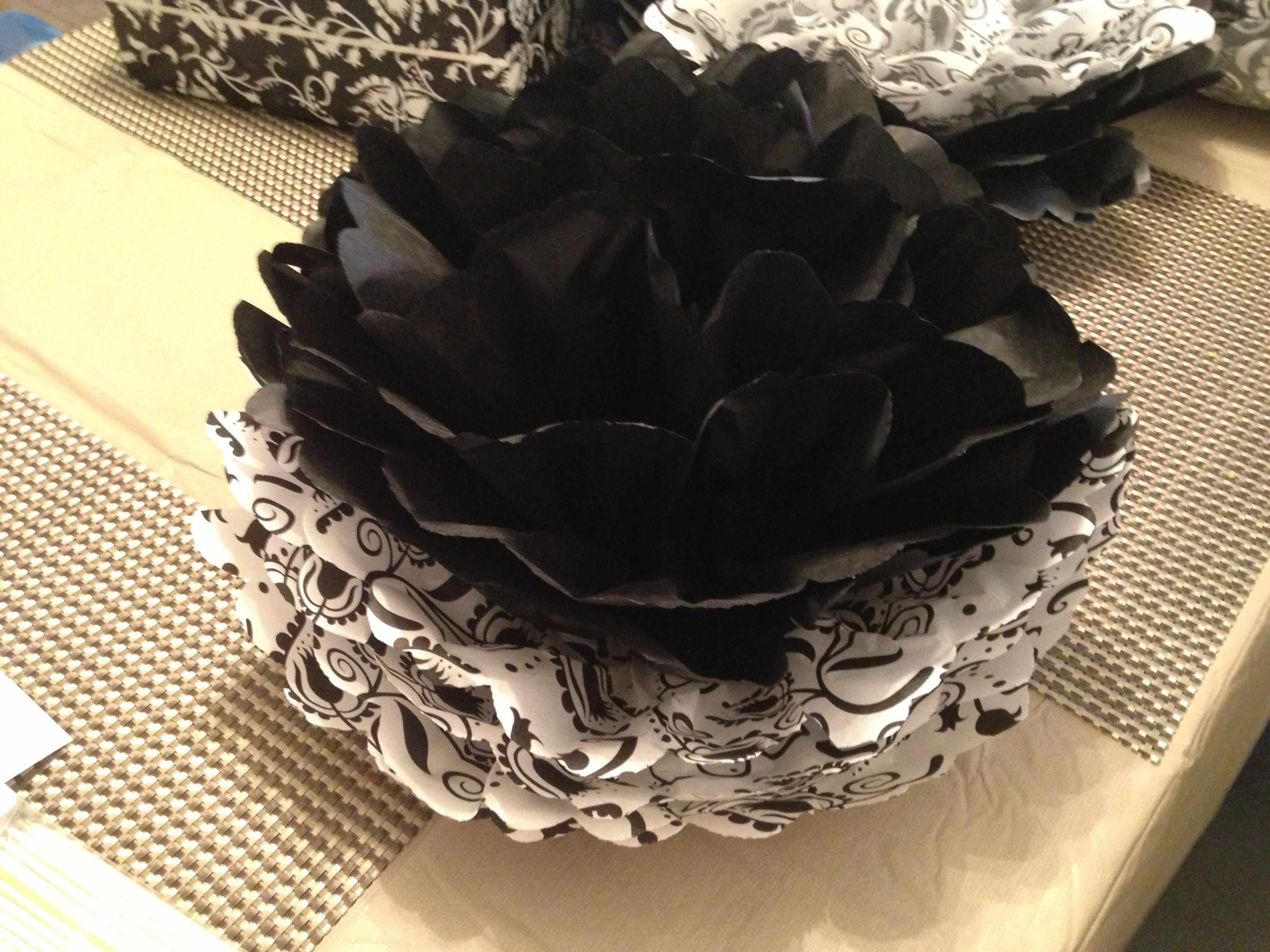 Tissue Paper Flowers Black And White Graduation Party Ideas