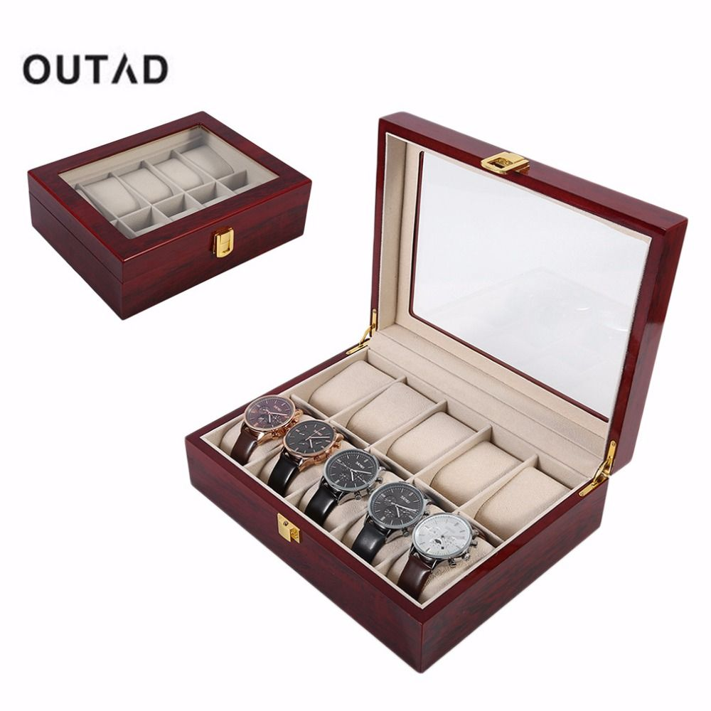 Click To Buy Luxury 10 Grids Solid Wooden Watch Box Case Jewelry Display Collection Storage Case Red Caixa Para Relogio Saat Kutusu Affiliate