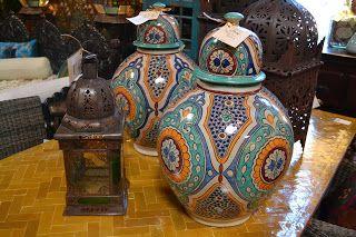 Moroccan pottery, lanterns and herringbone zellij table top