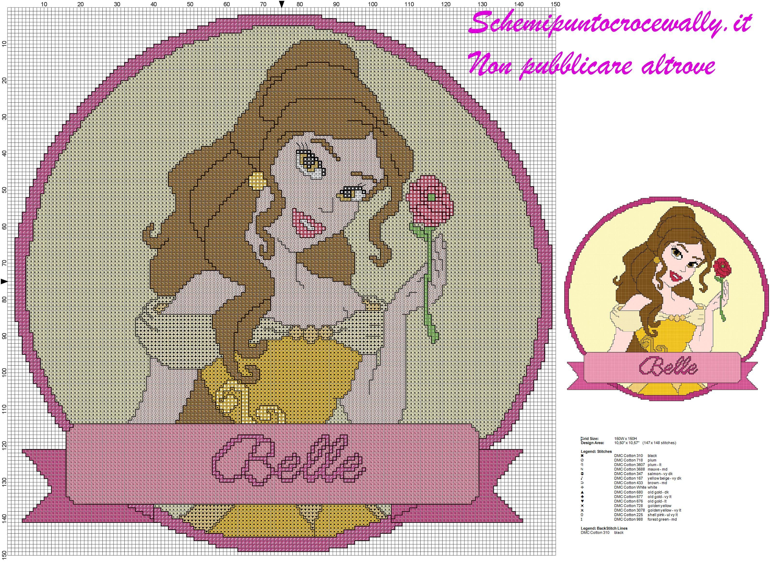 Schema punto croce gratis principessa disney belle per for Schemi gratis punto croce disney