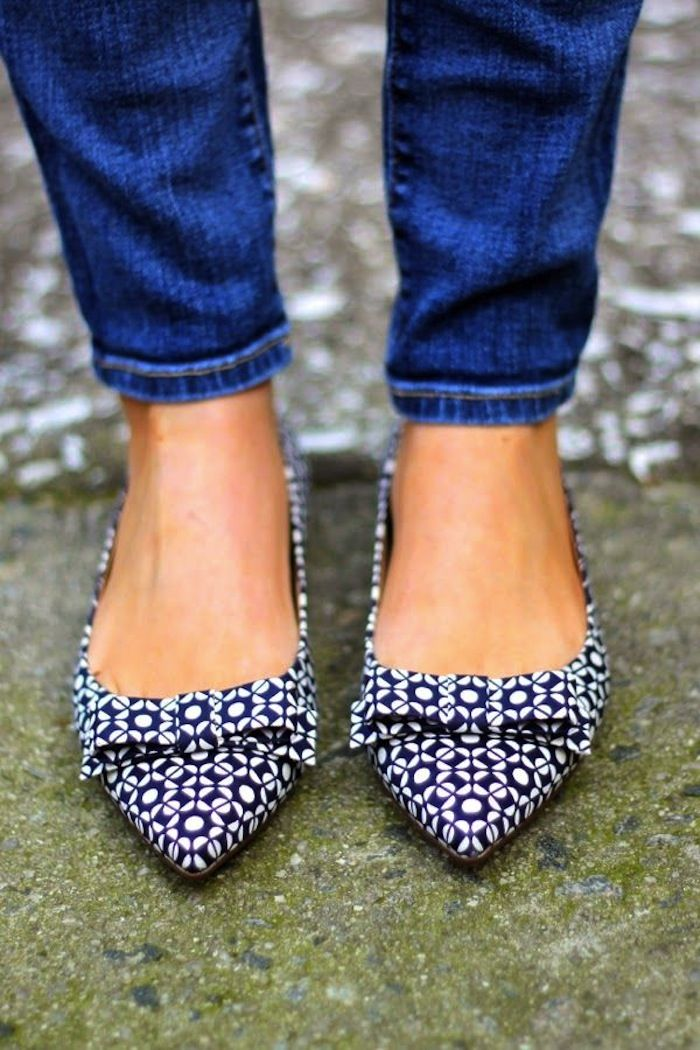 8d9afee9f580f Treat Yourself:: Patterned Kicks | Navy | Shoes, Fashion flats, Shoe ...