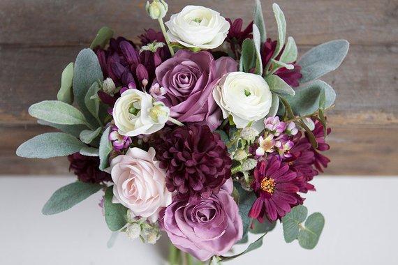 Plum Wedding Bouquet Silk Bridal Bouquet Lavender Ivory Bouquet