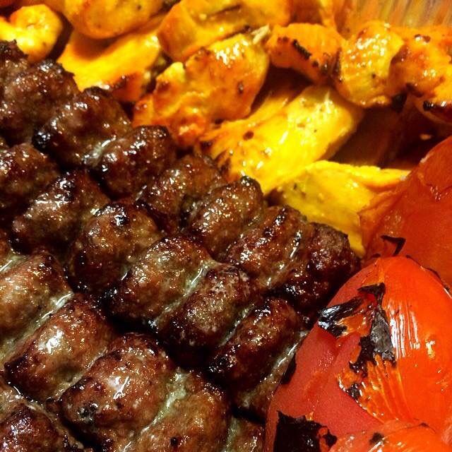 Looks like ground beef kabob & chicken. Respect!
