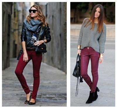 womens maroon skinny jeans - Jean Yu Beauty