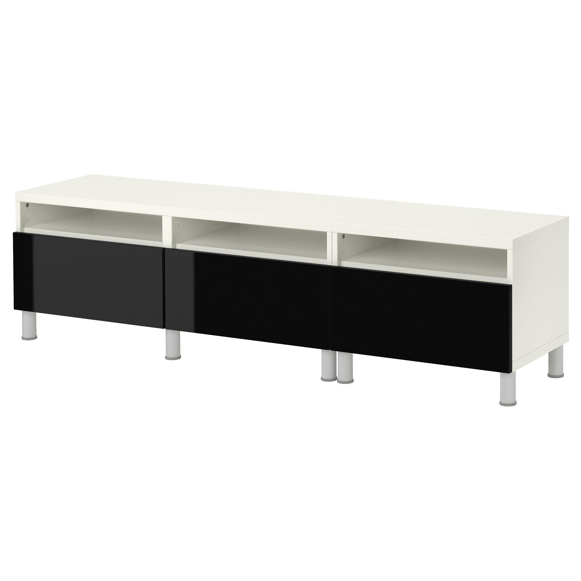 Bestå Bank Met Poten Withoogglans Zwart Ikea Alles