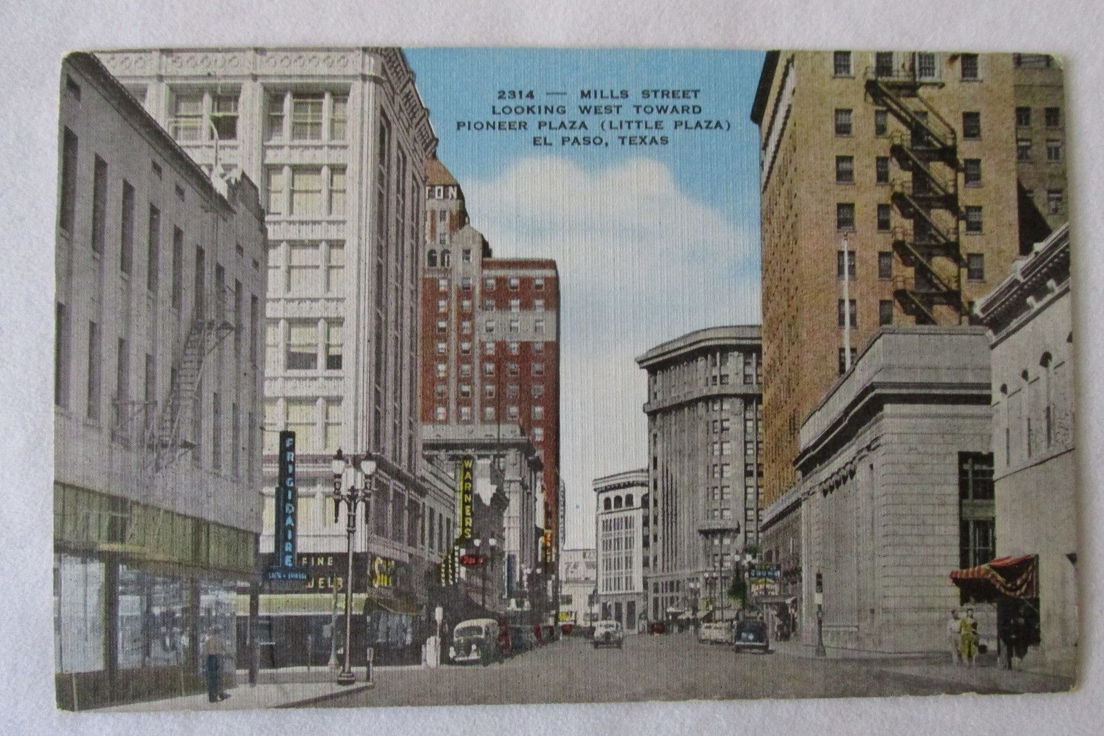 Vintage El Paso Texas Postcard Downtown Scene 1940s Unposted