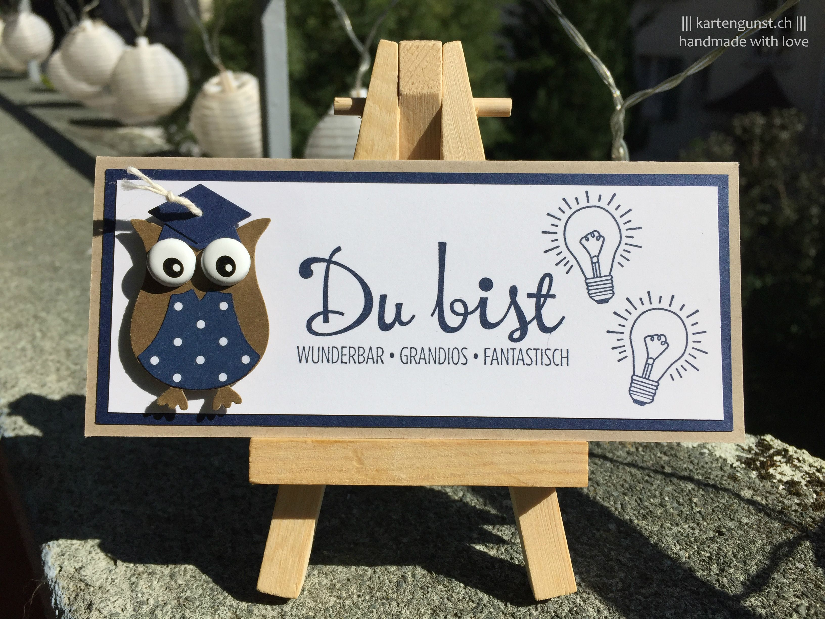 Karte zum Studienabschluss/ Graduation card ||| Stampin' Up! ||| Eule/Owl, Fantastische Vier/ Fantastische Vier/Fabulous, Flüsterweiss/Whisper White, Gemustertes Designerpapier/, Marineblau/Night of Navy, Mein Lichtblick/ You Brighten My Day, Savanne/Crumb Cake