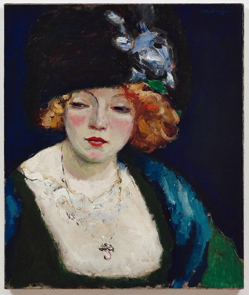 KEES van DONGEN Portrait d'une Femme Blonde au Chapeau Circa 1912