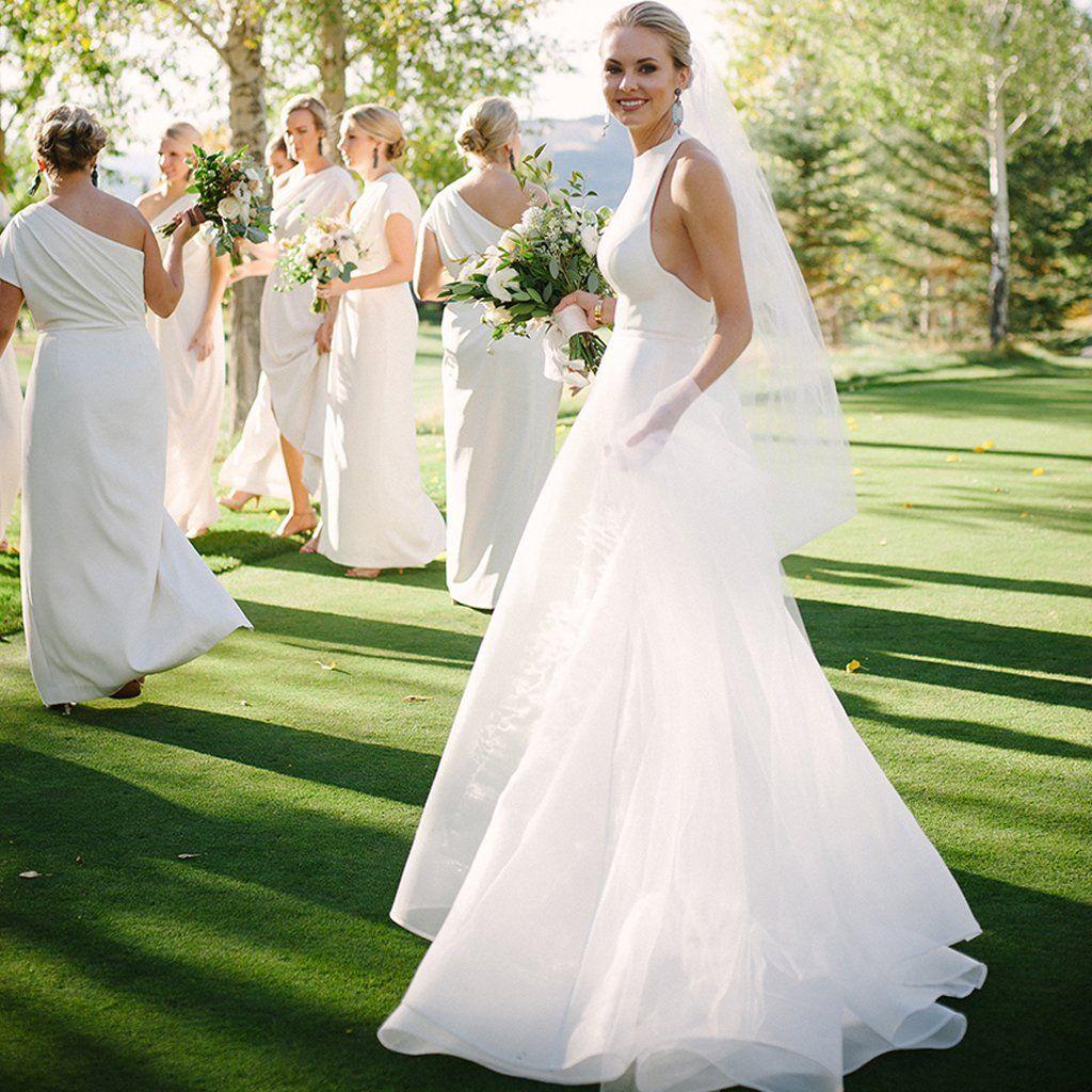 Charming satin detachable wedding dress unique backless mermaid