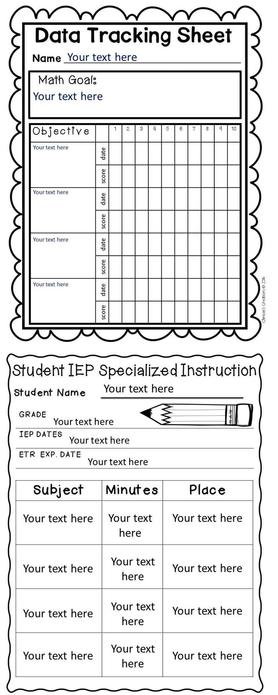 Special Education: assessment and organization Start up kit- bundle Special Education Forms make my job as an intervention specialist so much easier and organized. With all of the paperwork required for IEP's, progress monitoring, RTI interventions, I like to keep everything in one safe and organized place. Check out the products in Chrissie's Creations store on TpT for more details. Education: assessment and organization Start up kit- bundle Special Education Forms make my job as an intervention specialist so much easier and organized.  With all of the paperwork required for IEP's,  progress monitoring, RTI interventions, I like to keep everything in one safe and organized place.  Check out the