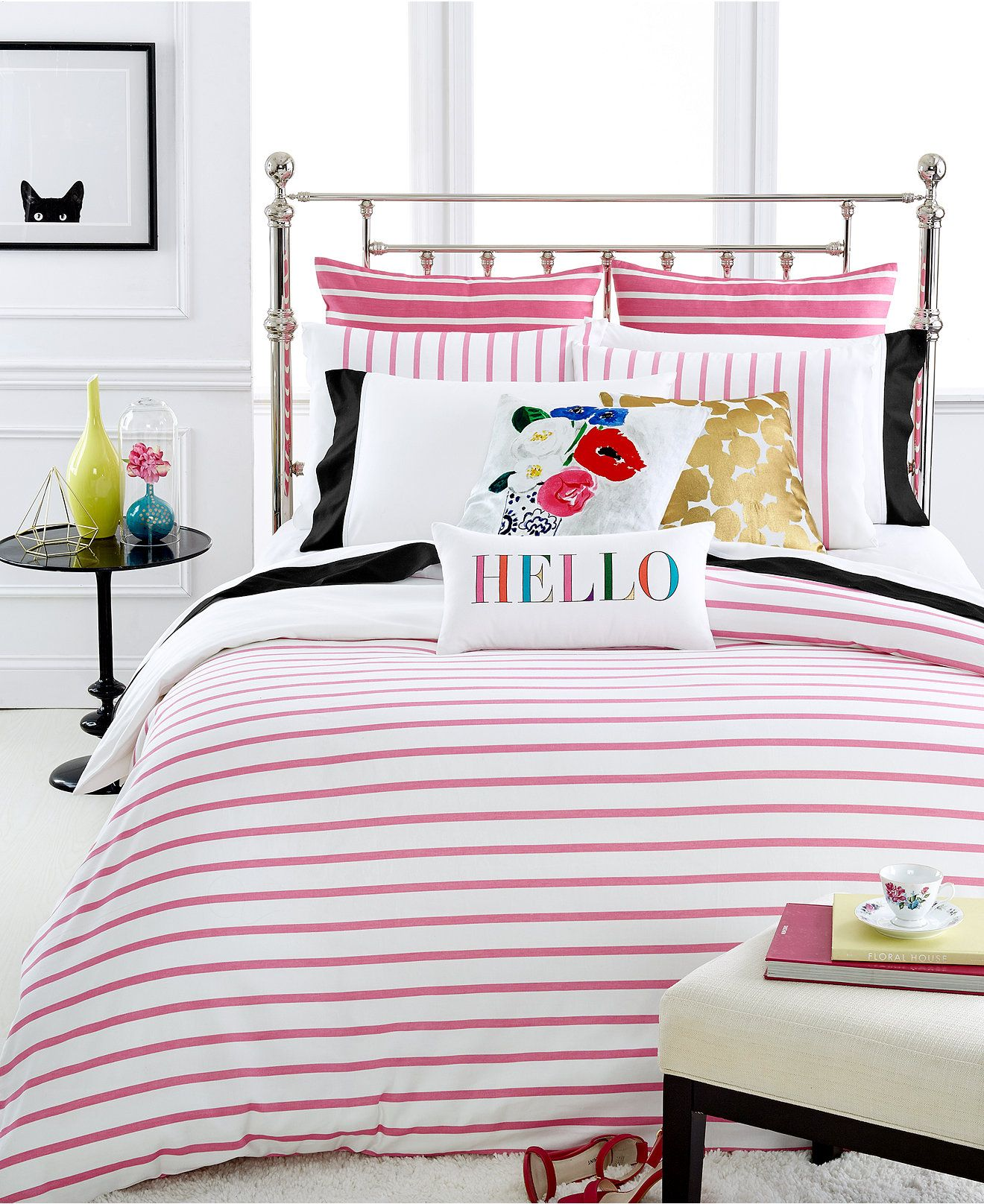 Bedding jardin collection bedding collections bed amp bath macy s - Kate Spade New York Harbour Stripe Shocking Pink Comforter And Duvet Cover Sets Bedding Collections Bed Bath Macy S