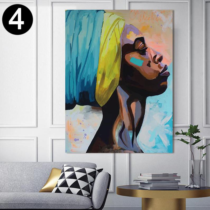 African American Woman Art Beauty Woman African Art Black Etsy Wall Art Pictures Canvas Wall Art Abstract Canvas Painting
