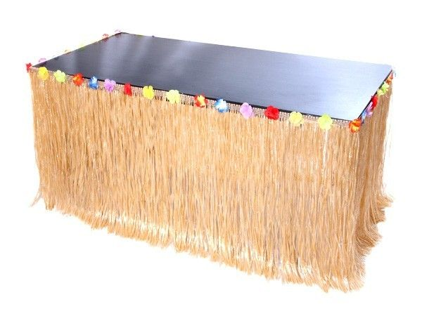 tischverkleidung bast look tisch deko hawaii party dekoration kunst bast tischumrandung. Black Bedroom Furniture Sets. Home Design Ideas