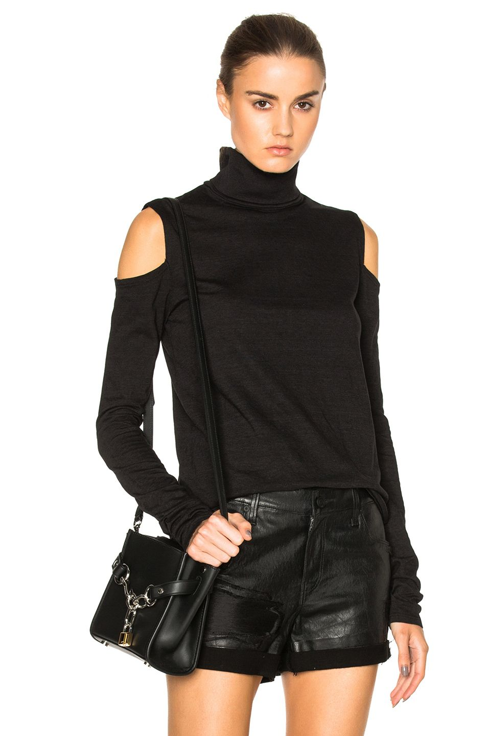 Pam & Gela Cold Shoulder Turtleneck Sweater in Black | FWRD | Back ...