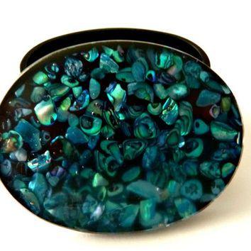 Vintage Turquoise Trinket Box Abalone Shell Gift Box Paula Shell
