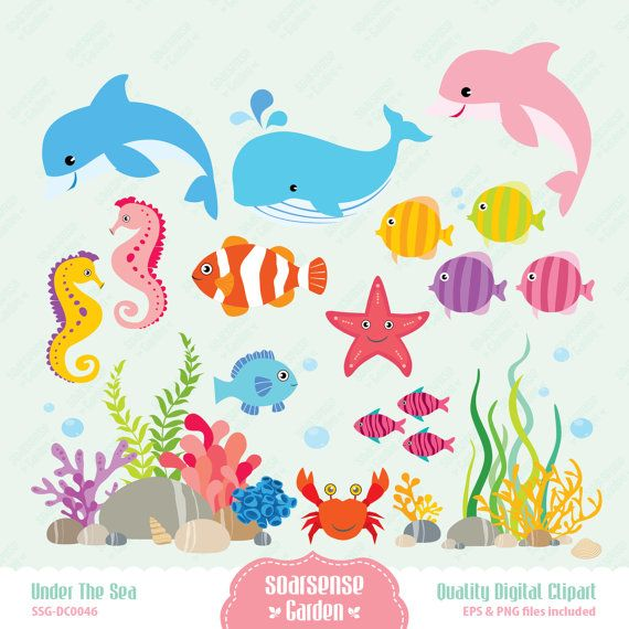 Under the Sea Digital Clipart, Dolphins, Fish, Whales, Sea Horses ...
